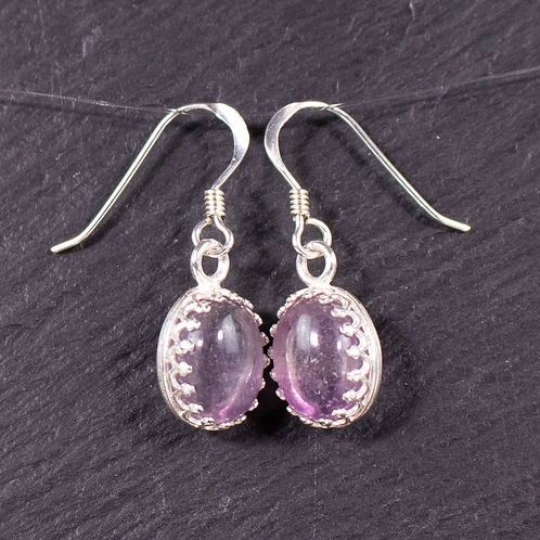 Fluorite earrings on a slate background