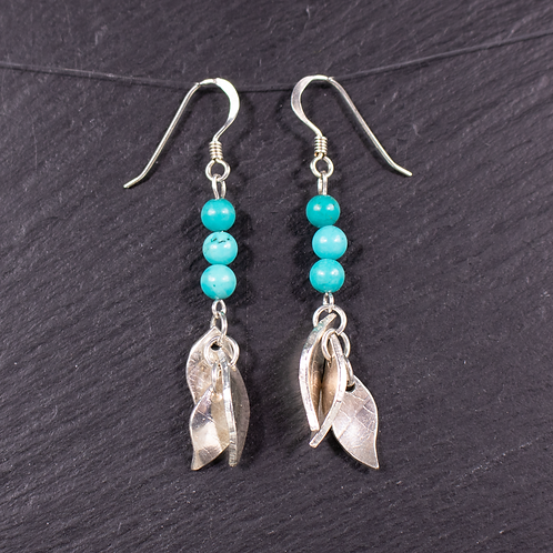 Silver leaves and gemstone drop earrings