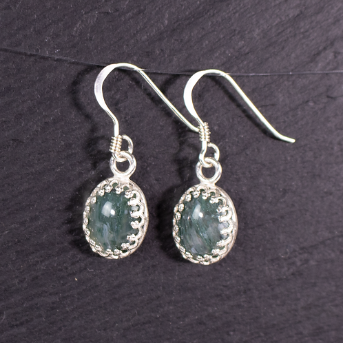 Moss agate earrings on slate background