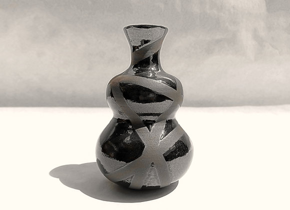 Black Random Stripes Vase