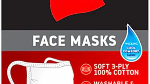 500 units-Hanes 3-Ply Cotton Reusable Face Mask