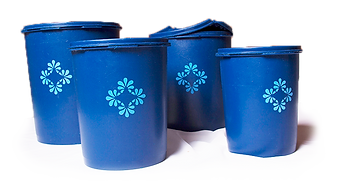Blue tupperware containers fo cake flour, sugar and other baking ingredients.