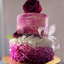 Fuschia and Flowers cake