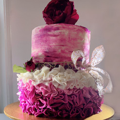 Fuschia and Flowers cake