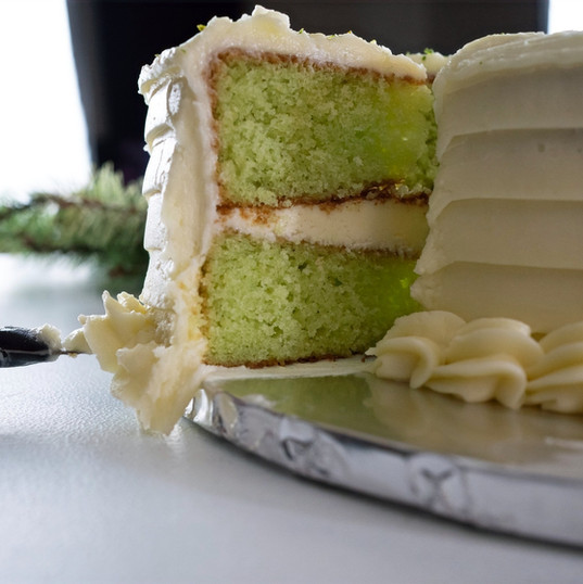 Key Lime Pleasure cake- cut
