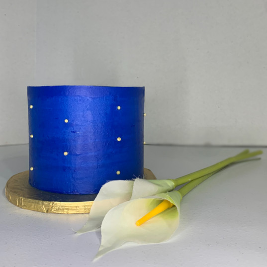 """Royal Blue with Gold Candied Pearls """"The Gateway"""" White Celebratory cake"""