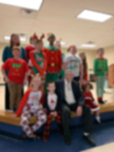 Family Christmas play, children, director, elder, adult, reindeer, elf, santa