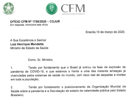 CFM divulga ofício sobre Telemedicina durante pandemia