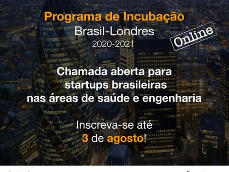 Programa de Incubação Brasil-Londres abre chamada para healthtechs brasileiras.