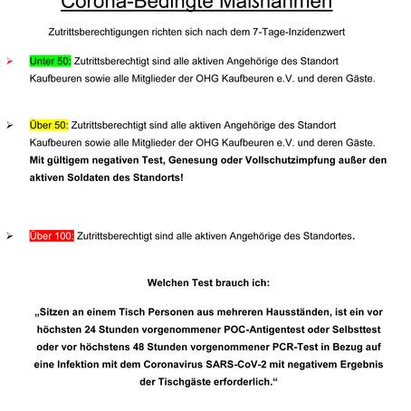 Öffnung der OHG ab den 14.06.21 unter folgenden Bestimmungen