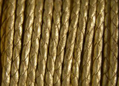 FLAT BRAIDED LEATHER CORD Medium Gold