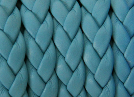 FLAT BRAIDED LEATHER CORD Light Blue