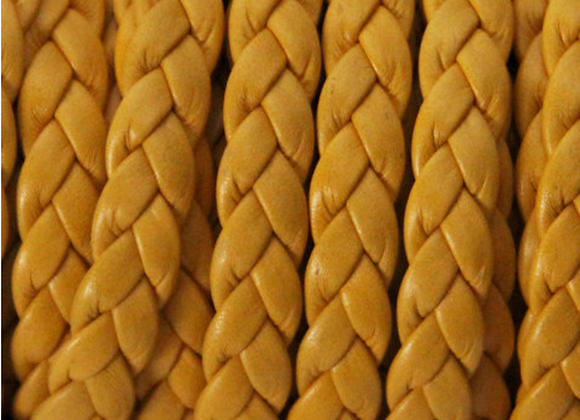 FLAT BRAIDED LEATHER CORD YELLOW