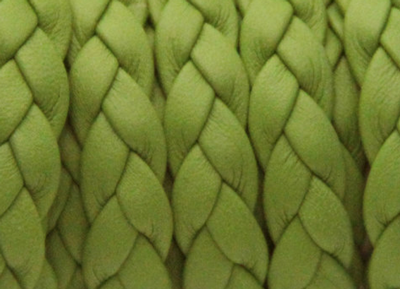 FLAT BRAIDED LEATHER CORD Green