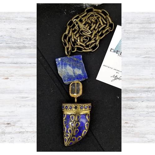 Blue Lapis Talisman and Slab on Brass Chain