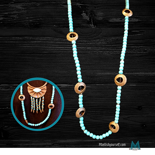 Turquoise and Brass NeckArt