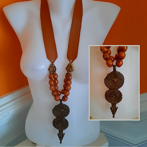 Long Agate Burnt Orange NeckArt w Old African Art Pendant