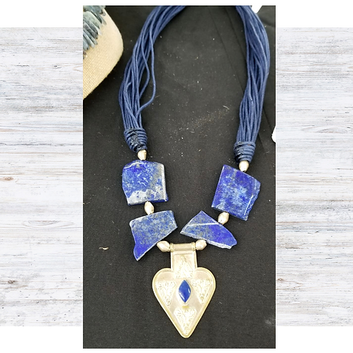 Blue Lapis w/Silver Pendant on Cord