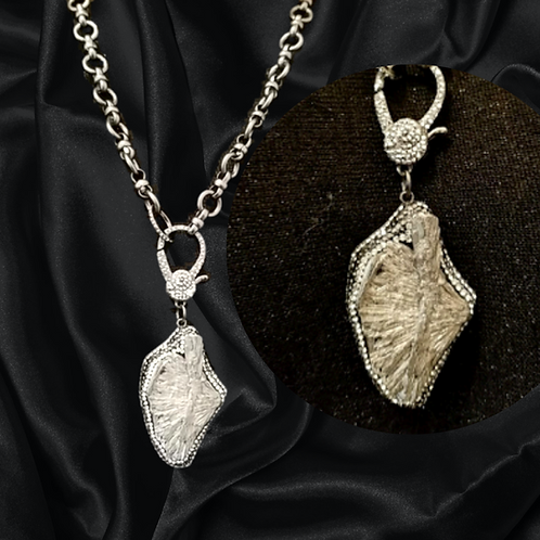 Hematite encased in Pave' Crystal NeckArt