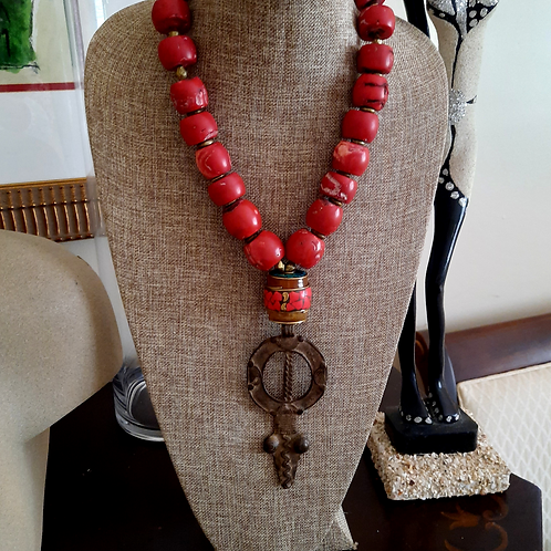 Red Coral with Old World African Brass Pendant