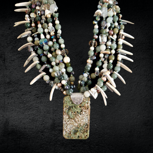 Old Moss Agate Pearl and Jade beaded NeckArt
