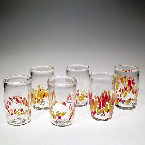 Two Color Spots Handblown Glass Tumbler
