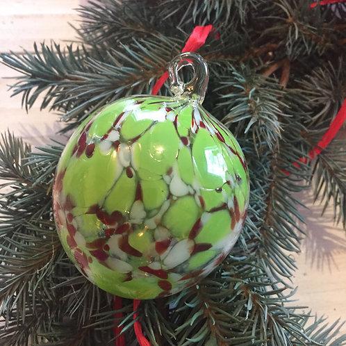 Green and Red Confetti Ornament