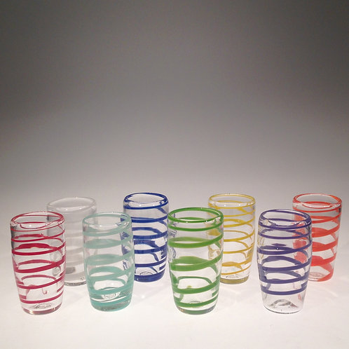 Single Color Swirl Handblown Glass Tumbler