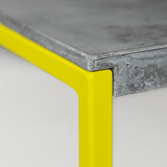 Minimalist concrete table with powdercoated steel frame