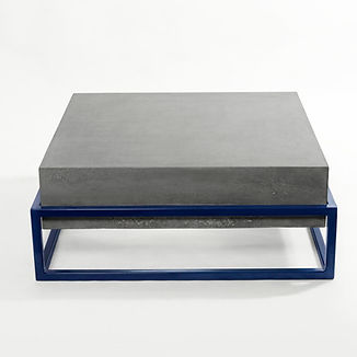 Concrete coffee table with powdercoated steel frame, polished concrete, GFRC,