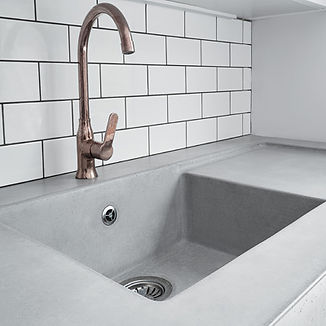 Concrete worktops kitchen cast in sink GFRC polished concrete