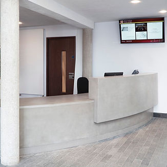 Concrete curved reception desk, GFRC