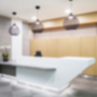 Concrete cladding panels, concrete reception desk, polished concrete