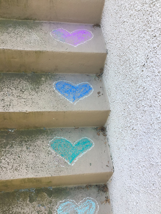 A Rainbow of HeARTs on the Stairs by Diane Kallal