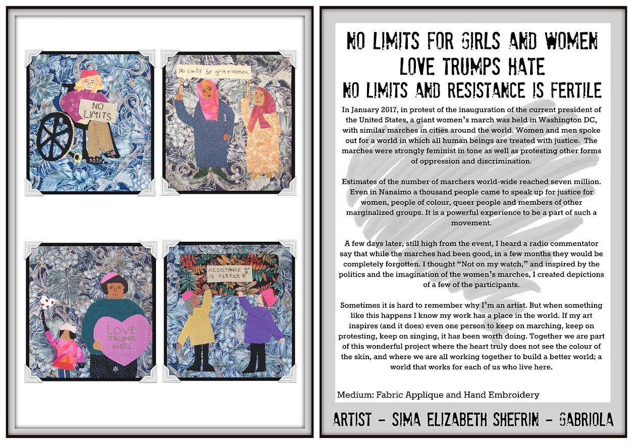 No Limits for Girls and Women / Love Trumps Hate / No Limits Resistence is Fertile - Fabric Art