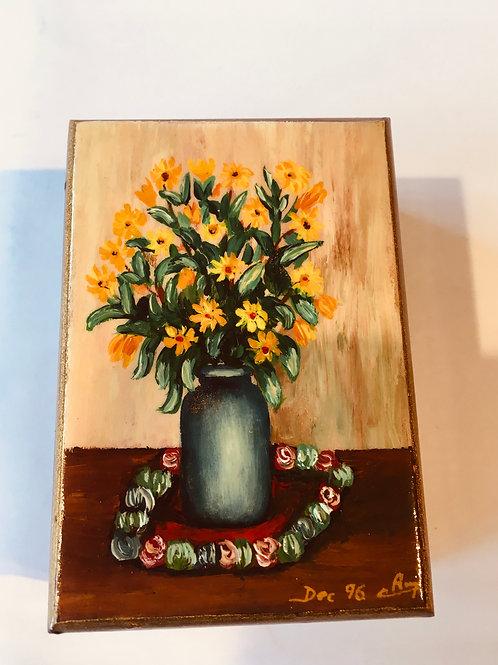 Bouquet de soleil - boîte de bois  peinte à la main