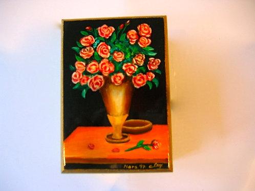 Boîte en bois peinte à la main bouquet 15