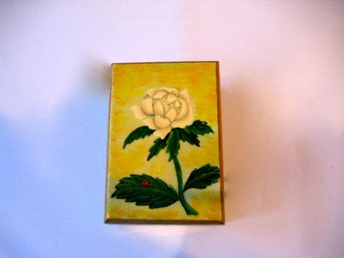 Boîte bois peinte main Camélia Blanc 3