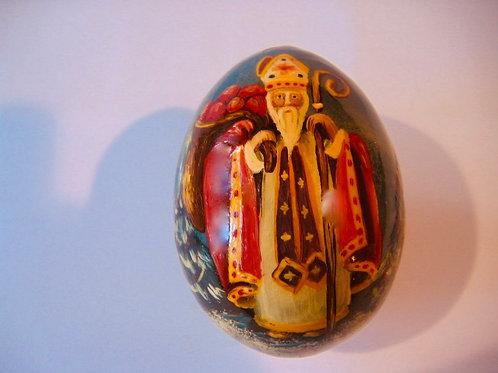 Oeuf Saint-Nicolas peint à la main sur bois
