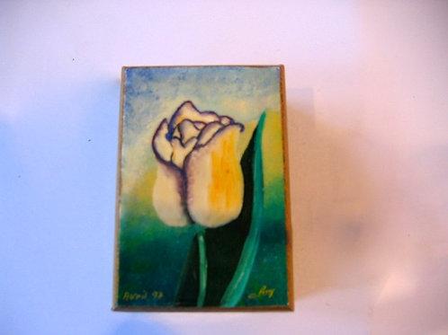 Boîte en bois peinte à la main Rose blanche N°2