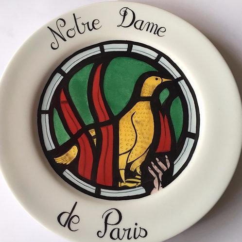 Assiette de bienvenue en porcelaine - Le phénix renaissant de ses cendres