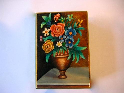 Boîte en bois peinte à la main décor bouquet 10