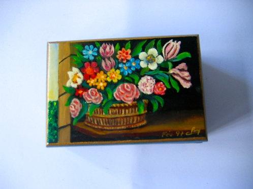 Boîte en bois peinte à la main - Corbeille N° 17