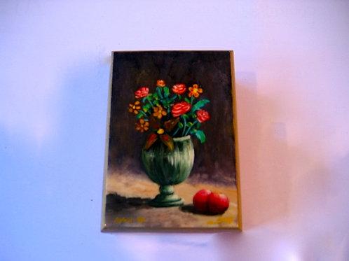 Boîte en bois peinte à la main décor nature morteN° 5