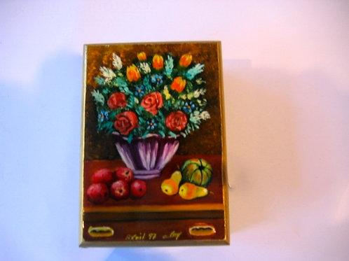 Boîte de bois peinte à la main - N° 7 Nature morte aux fleurs et fruits