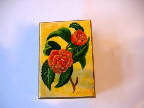 Boîte de bois peint à la main Camélia Rouge