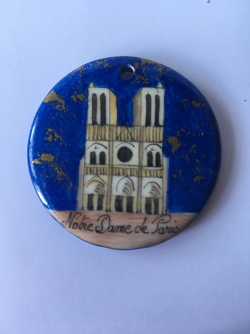 Notre-Dame de Paris la nuit - pendentif rond