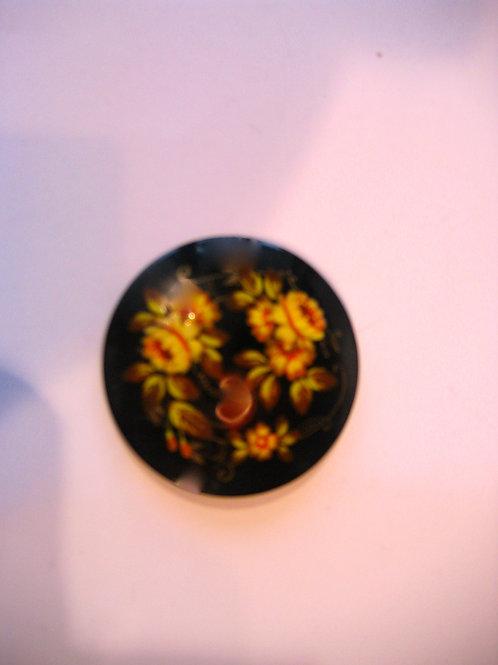 Broche ronde décor floral jaune - Métal - Réf. 002