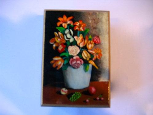 Boîte en bois peinte à la main nature morte N° 8