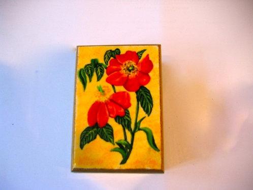 Boîte de bois peinte à la main Fleur Rouge N°1